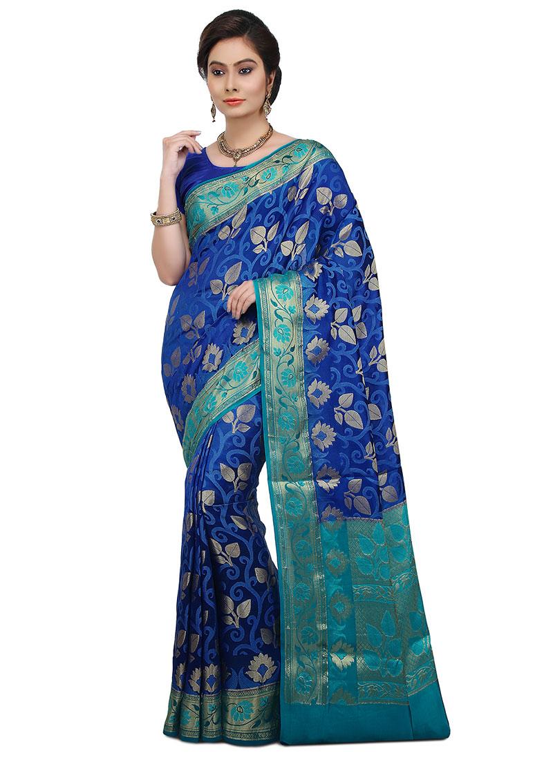 Buy Blue Pure Silk Saree Zari sari Online Shopping