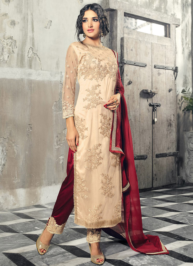 Buy Cream Net Straight Pant Suit Embroidered straight pant suit Online Shopping  SLSCC33002