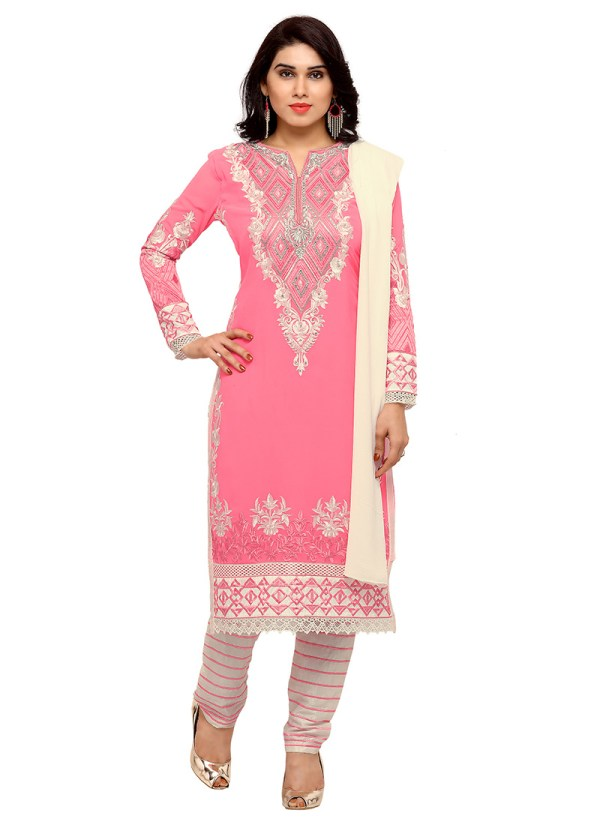 Light Pink Georgette Straight Pant Suit Straight-pant