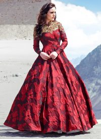 Buy Maroon Blended Cotton Ball Gown, dresses-and-gown ...