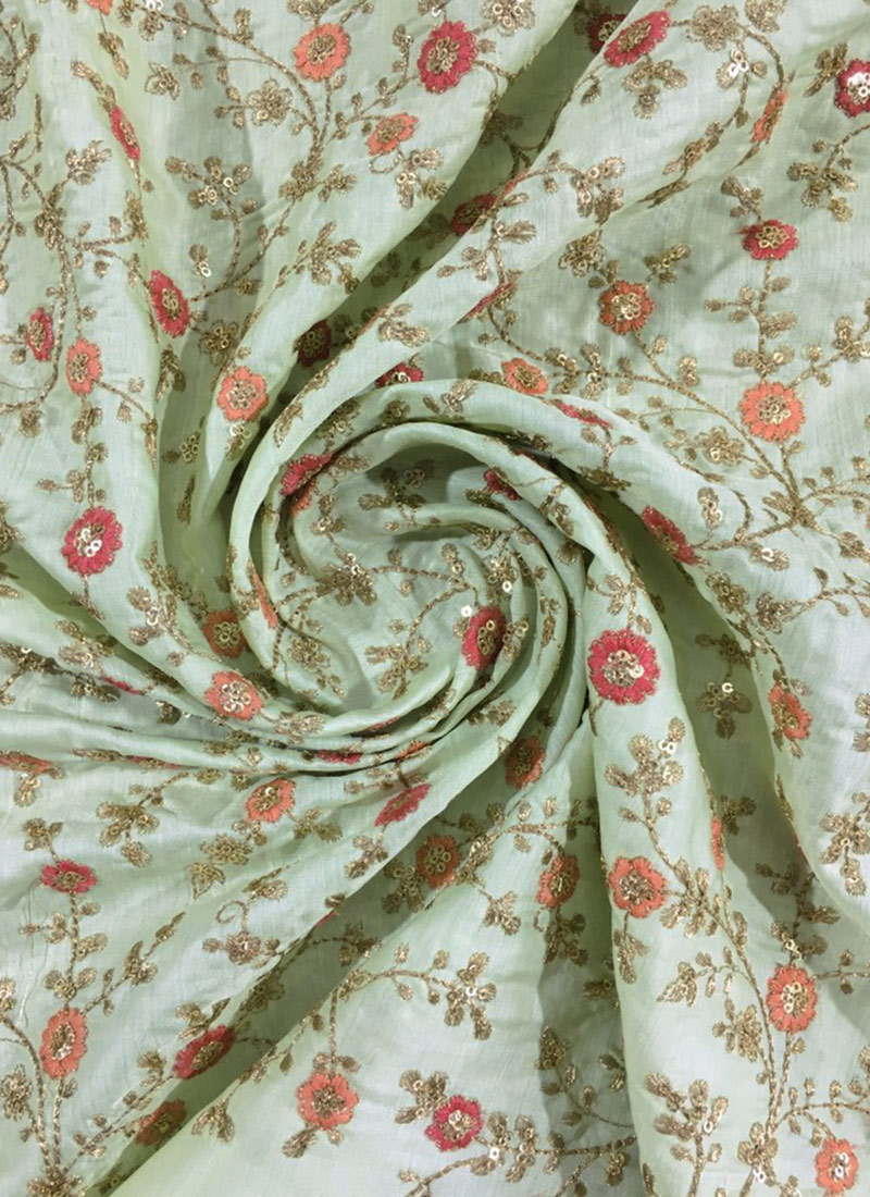 Where To Buy Embroidery Fabric : where, embroidery, fabric, Green, Embroidered, Fabric, Wear,, Sequins,, Blended, Patterned, Online, Shopping, EFSUVI2612173