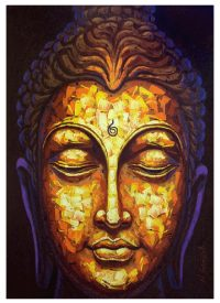 Buy Mustard Yellow Buddha Face Canvas, wall