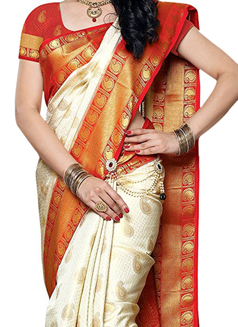Buy Off White N Red Art Silk Saree Zari sari Online
