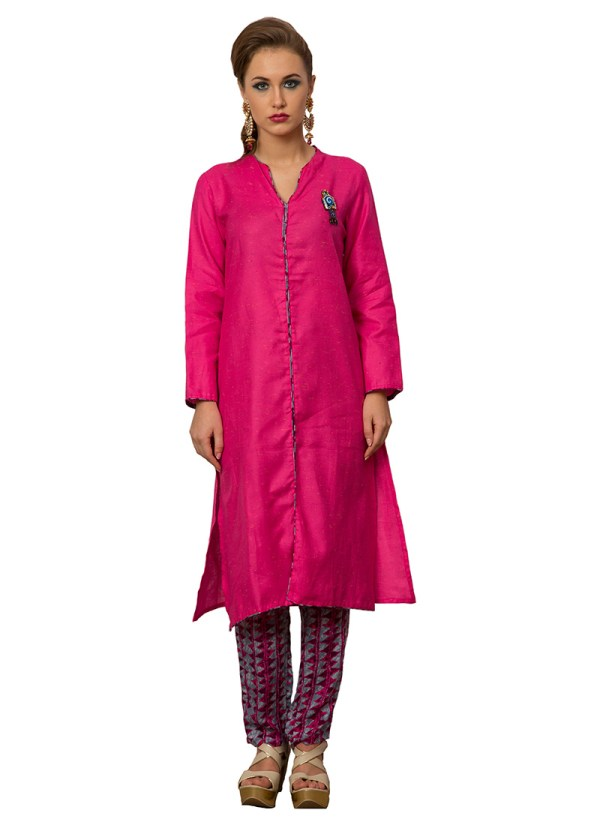 Pink Cotton Viscose Straight Pant Suit Straight-pant