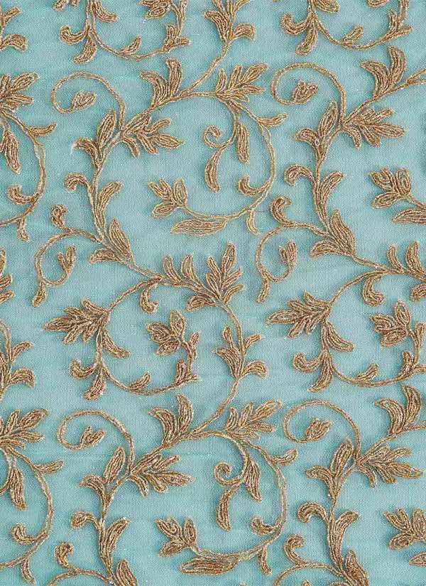 Sky Blue Embroidered Net Fabric Blended