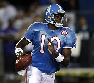 Vince Young struggles as the backup, going 5 for 10 with an interception and a TD.  (Getty Images)