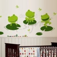 Happy Frogs on Lily Pad with Dragonflies - dd1030 - Vinyl ...