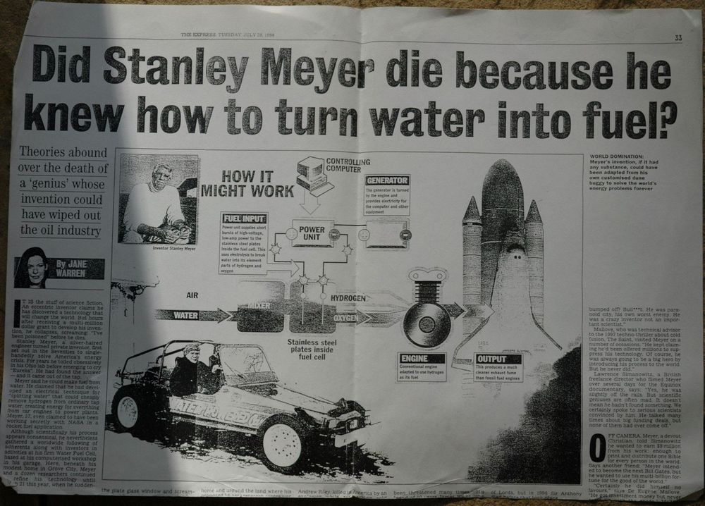 A newspaper article describing Stanley Meyer's murder.