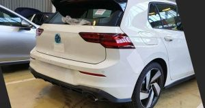 The VW Golf GTI Mk8 has been leaked and has a large rear spoiler