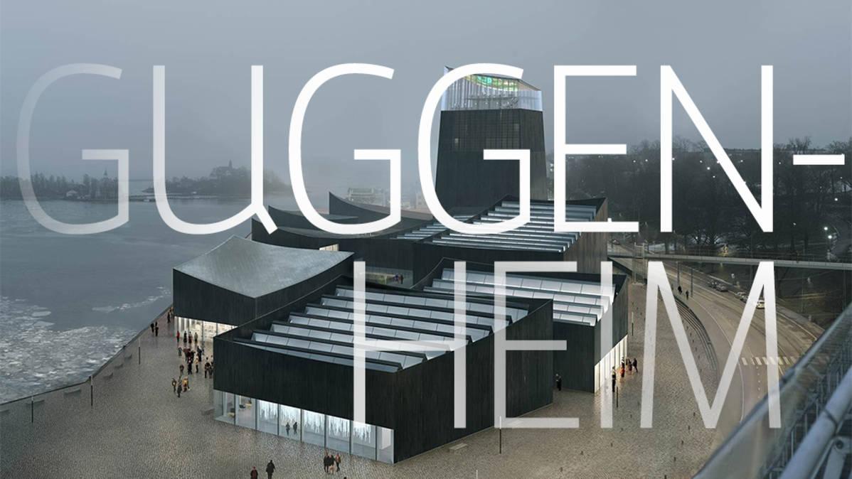 Visualisointi GH-04380895 -rakennuksesta, jonka päällä teksti Guggenheim.