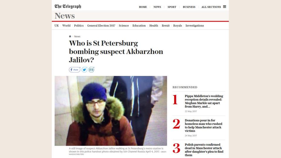 Kuvakaappaus telegraph.co.uk -nettisivuilta jutusta, joka käsittelee Pietarin terrori-iskua.