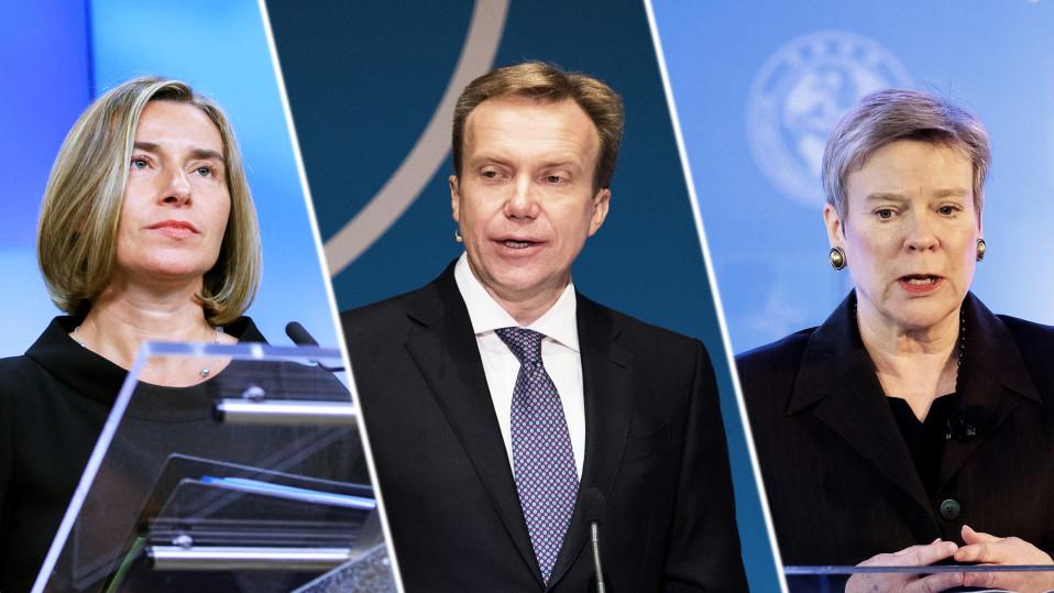 EU:n ulkoasioiden ja turvallisuuspolitiikan korkea edustaja Federica Mogherini, Norjan ulkoministeri Børge Brende ja Naton apulaispääsihteeri Rose Gottemoeller.