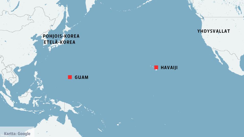 Kartta, johon on merkitty Pohjois-Korean ja Etelä-Korean lisäksi Yhdysvallat, sekä Guamin ja Havaijin saaret.