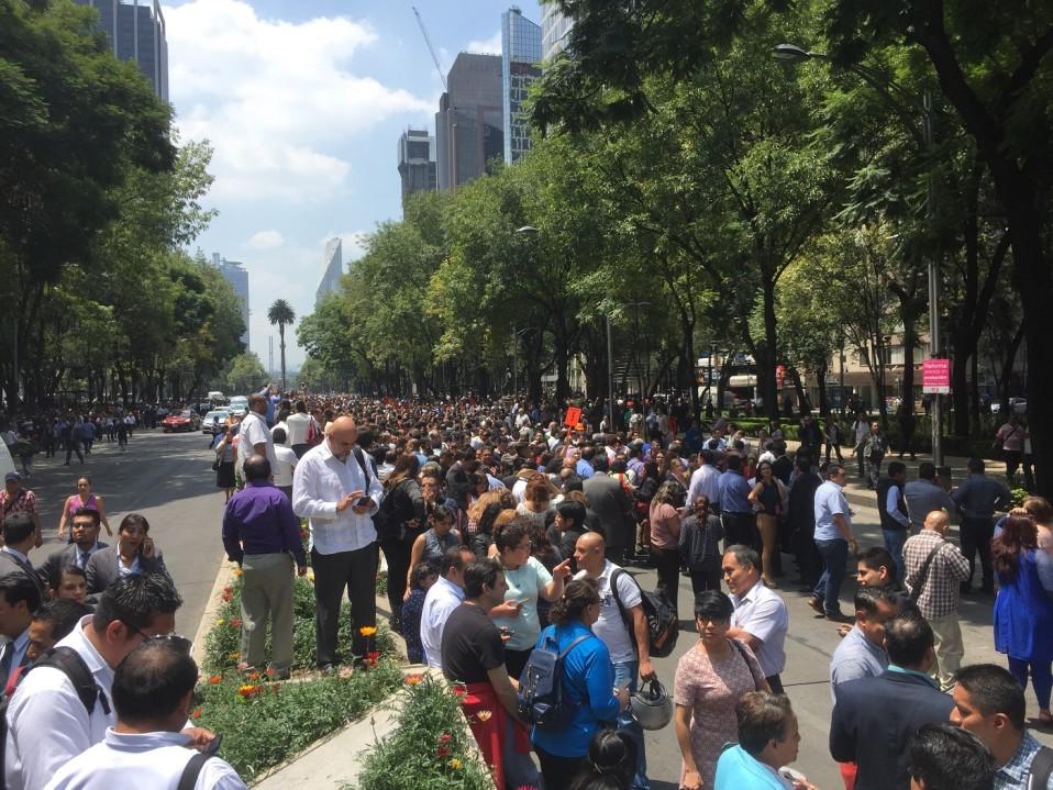 Ihmisiä seisoskelemassa keskellä katua, taustalla puita ja pilvenpiirtäjiä.