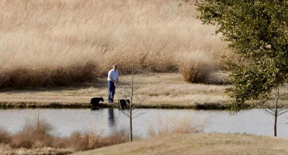 George W. Bush kalastamassa Prairie Chapel Ranchissa Crawfordissa v. 2008.