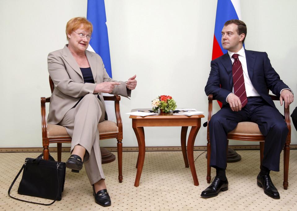 Presidentti Tarja Halonen ja Venäjän uusi presidentti Dmitri Medvedev.