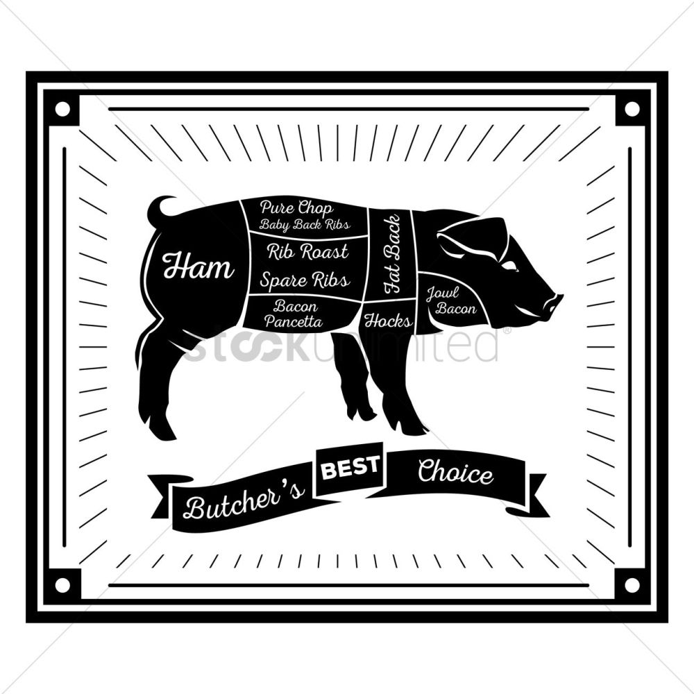 medium resolution of butcher pig cuts diagram vector graphic