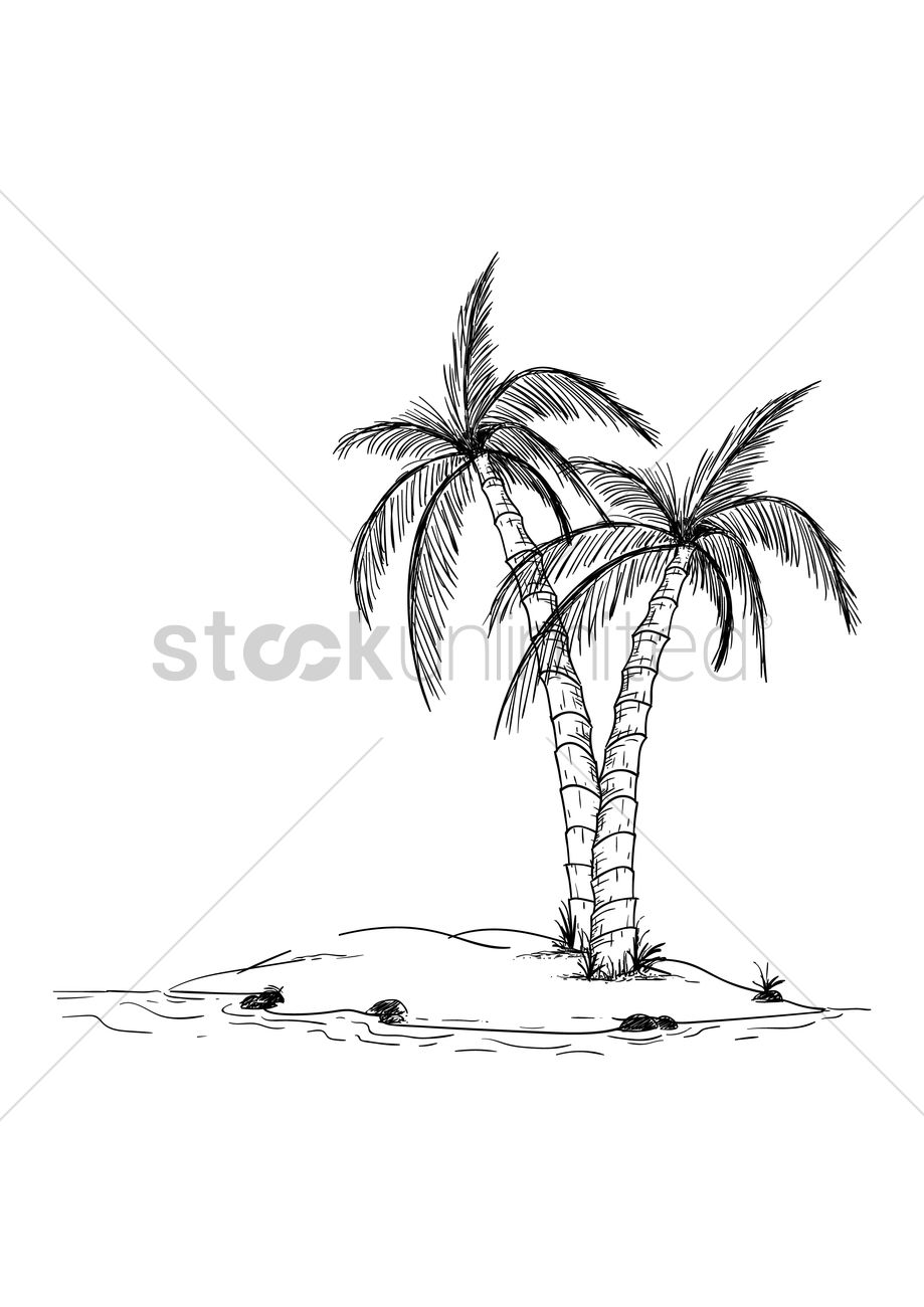 Coconut Trees In An Island Vector Image 1979395 Stockunlimited