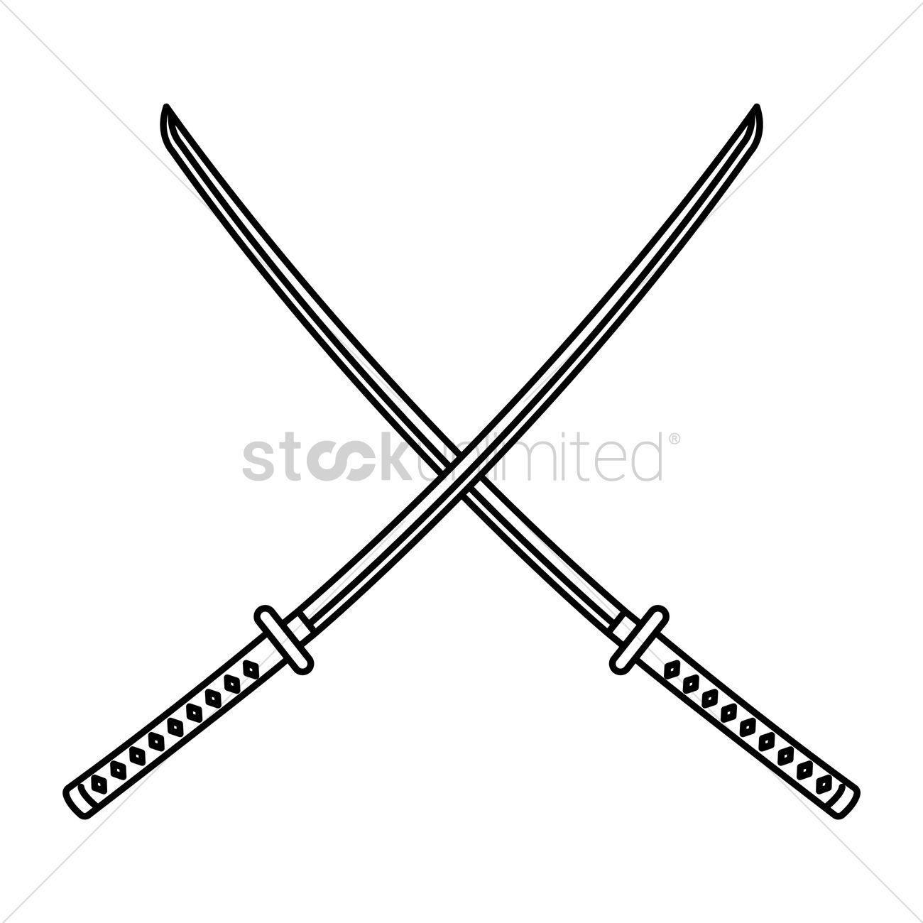 Crossed Katana Vector Image