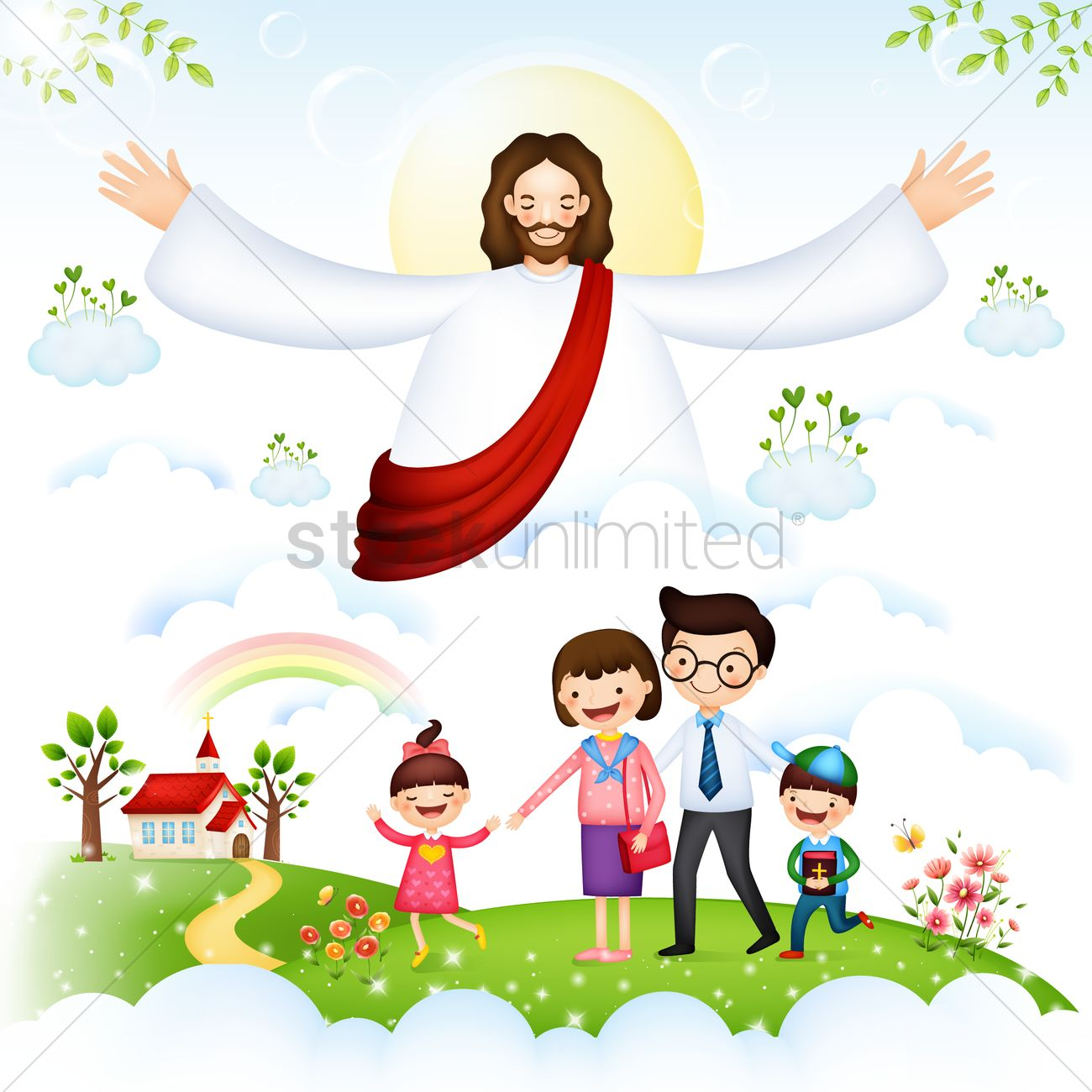 hight resolution of family blessed by jesus christ vector graphic