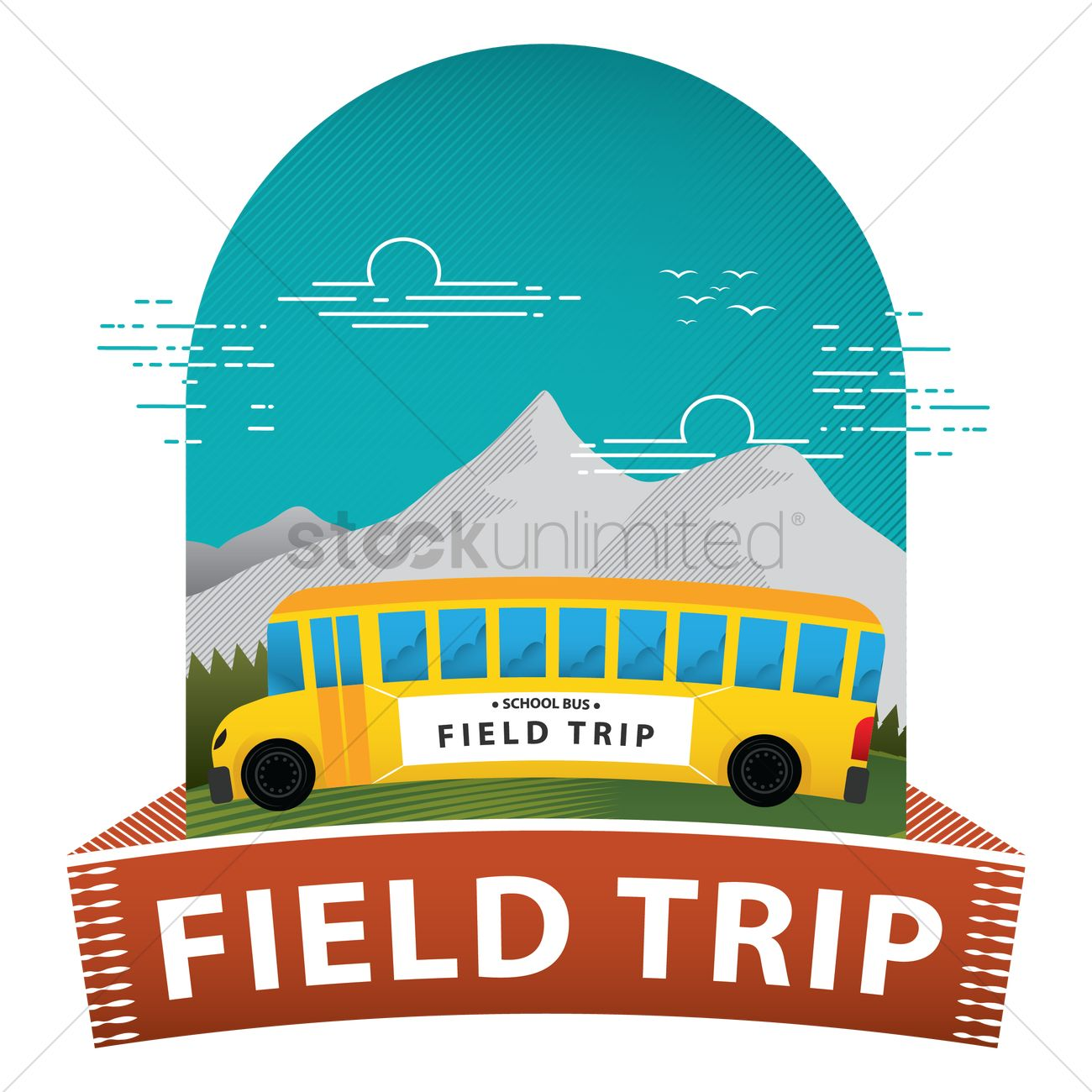 hight resolution of field trip poster vector graphic