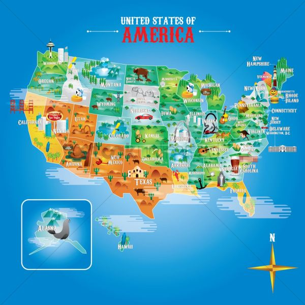 Fifty states of america with famous landmarks Vector Image