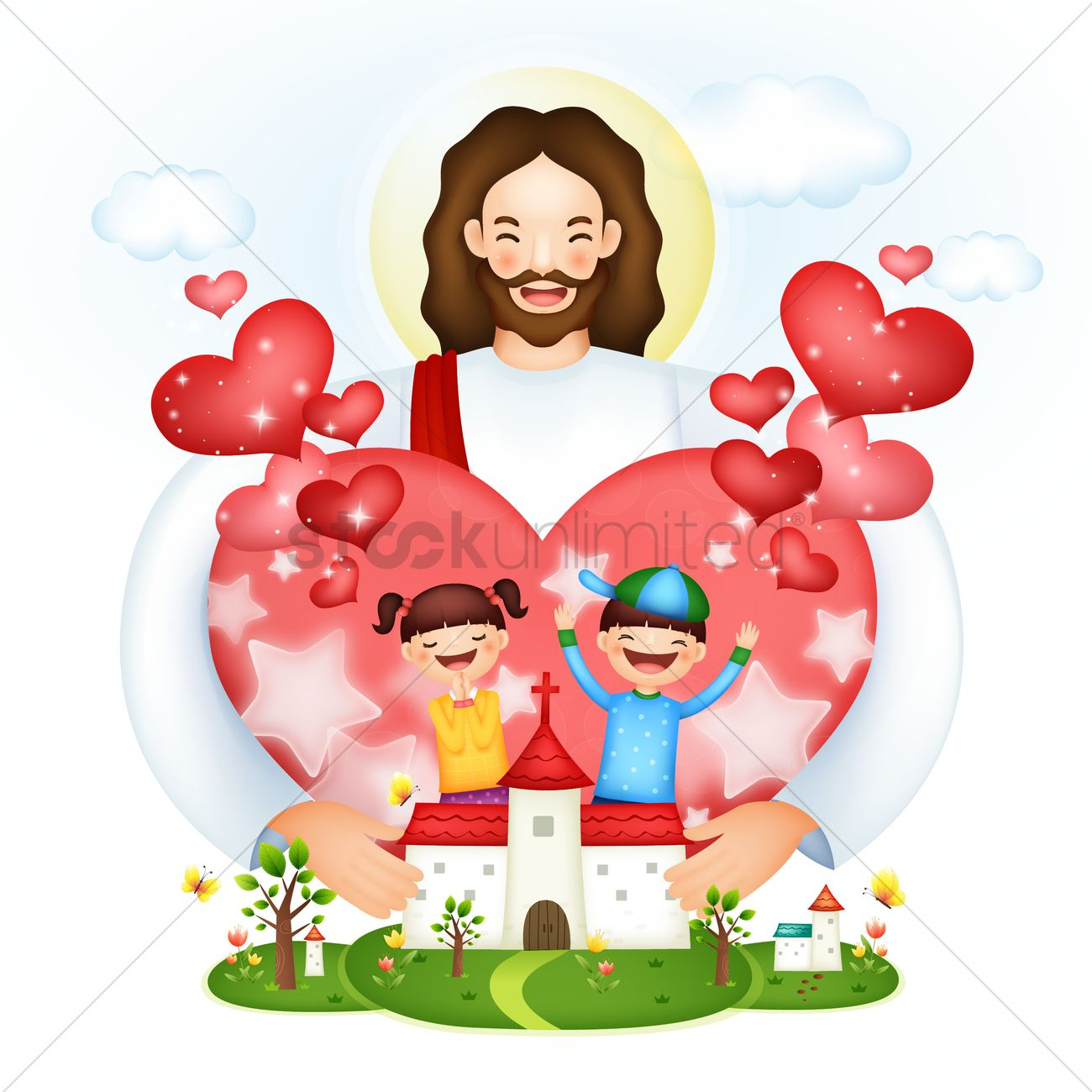 hight resolution of jesus love vector graphic