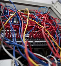 low angle of tangled wires in server room at television station stock photo [ 1300 x 867 Pixel ]