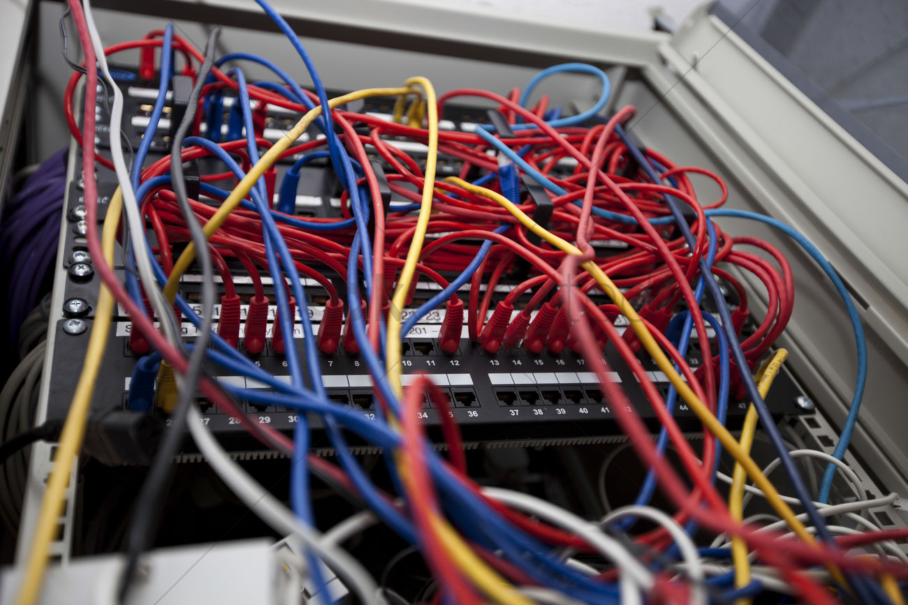 hight resolution of low angle of tangled wires in server room at television station stock photo