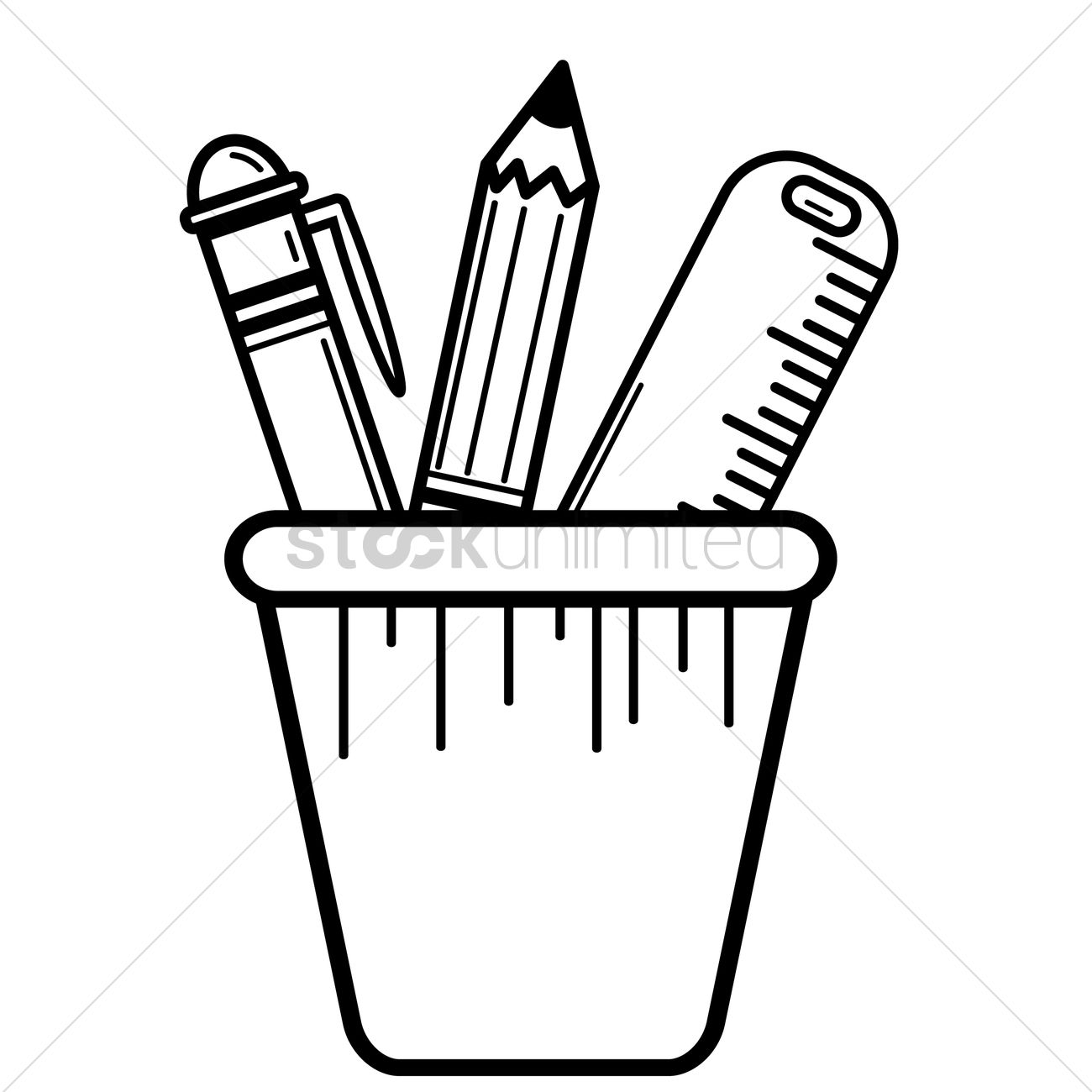 Free Pen Pencil And Ruler In Pen Holder Vector Image