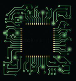 processor on circuit board design vector graphic [ 1300 x 1300 Pixel ]