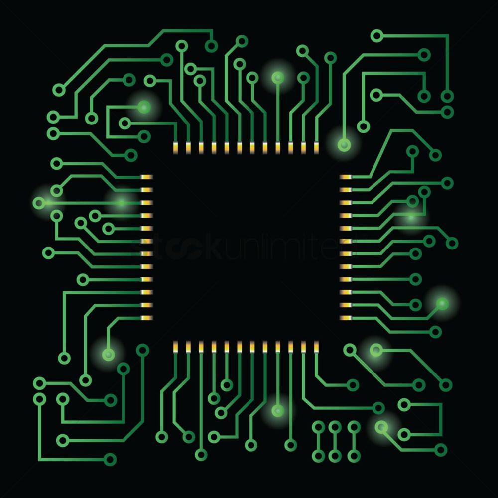 medium resolution of processor on circuit board design vector graphic