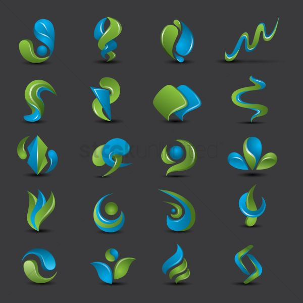 Set Of Abstract Logo Elements Vector - 1939319