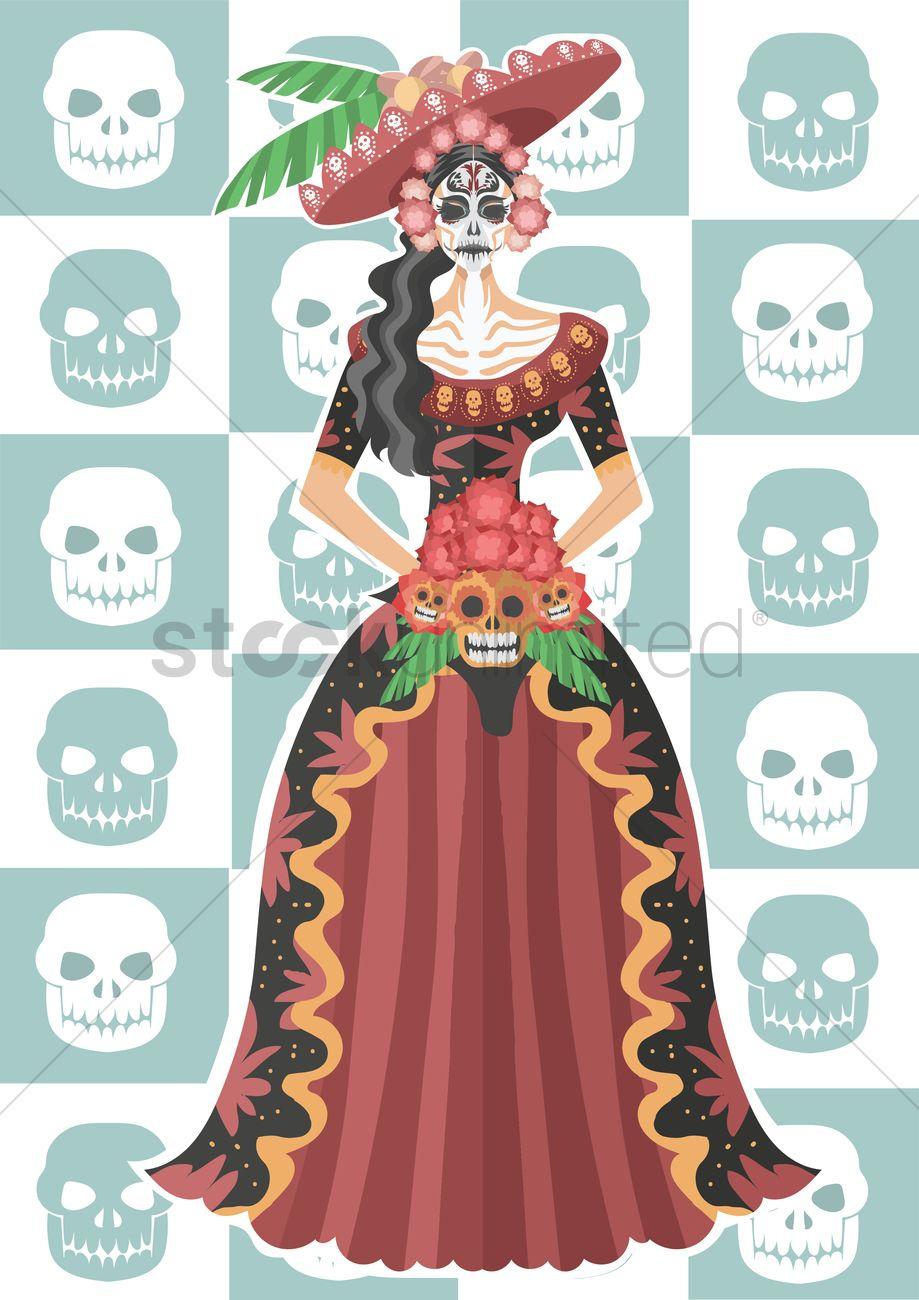 Hula Girl Wallpaper Sugar Skull Girl In Long Dress Vector Image 1287355