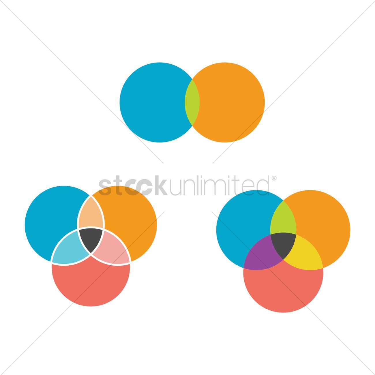 hight resolution of venn diagram elements vector graphic