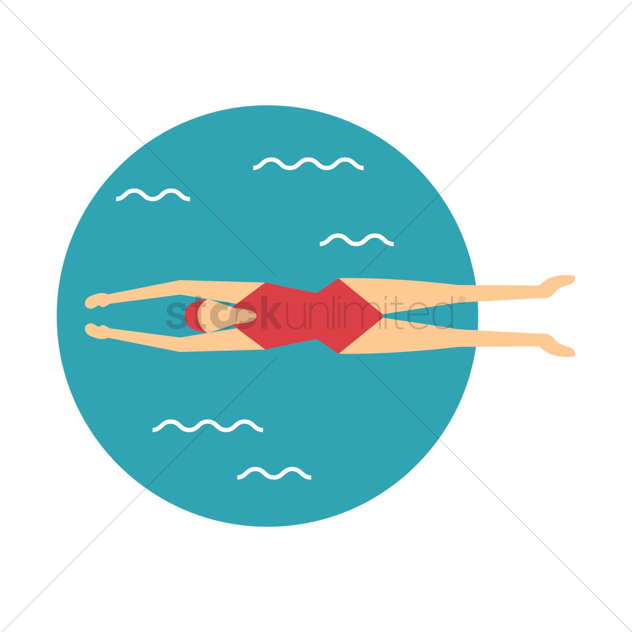 free woman swimming vector