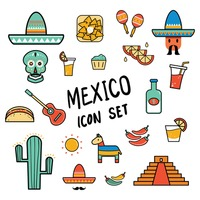 Free Mexico icon set Vector Image - 1618332 | StockUnlimited