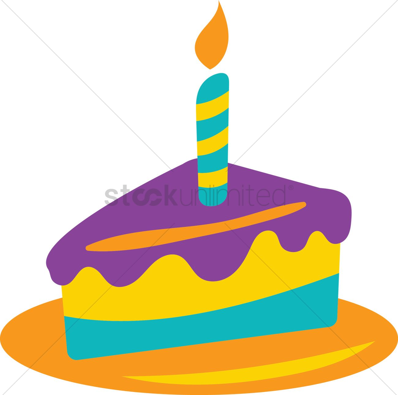 hight resolution of birthday cake slice vector graphic