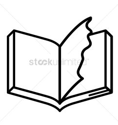 book with torn page vector graphic [ 1300 x 1300 Pixel ]