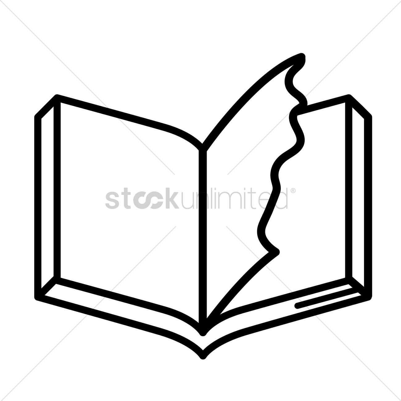 hight resolution of book with torn page vector graphic