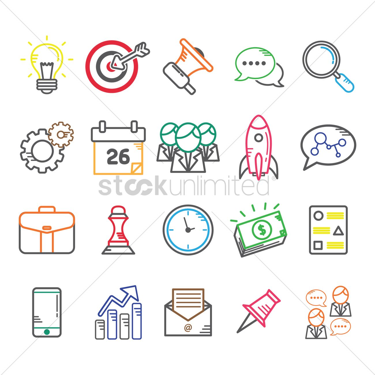 business icon set vector
