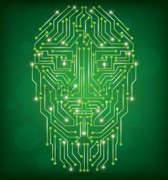 circuit board human face design vector graphic [ 1300 x 1300 Pixel ]