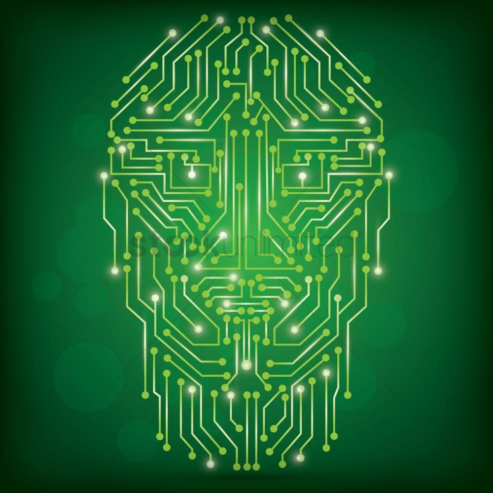 medium resolution of circuit board human face design vector graphic