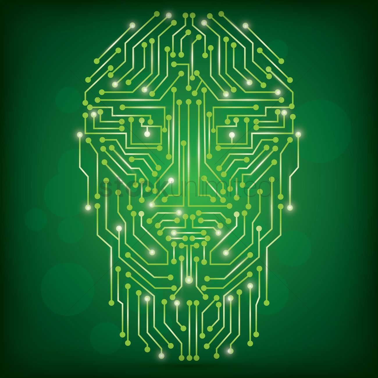 hight resolution of circuit board human face design vector graphic