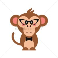 Cute monkey with glasses and bow tie Vector Image ...