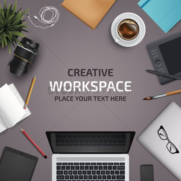 Flatlay Of Office Desk And Equipment Vector