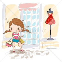 Girl standing near clothes shop Vector Image 1500116 StockUnlimited