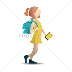 Girl walking with bag and book Vector Image 1813520 StockUnlimited