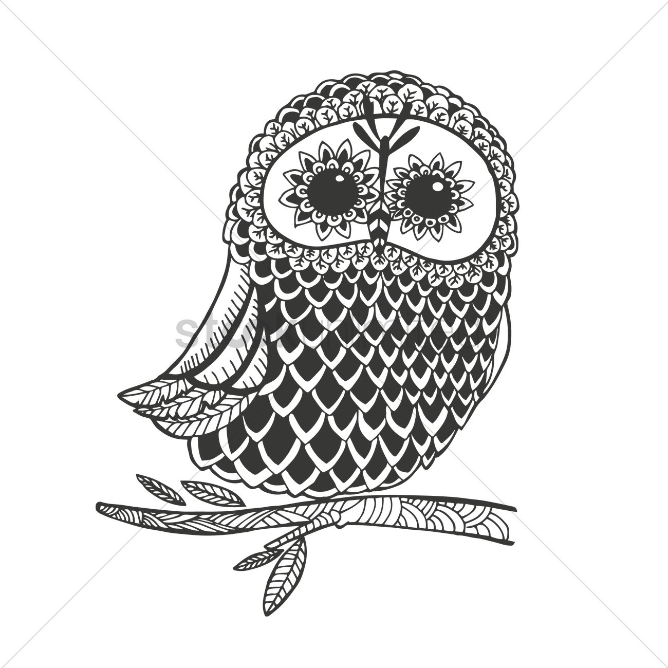 Intricate Owl Design Vector Image