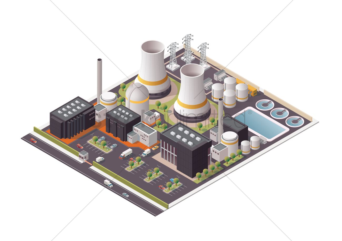 hight resolution of isometric power plant vector graphic